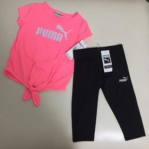 Puma pink top girl active pants set